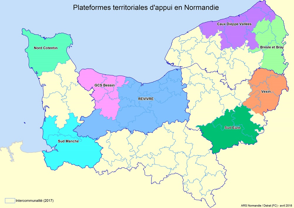 Carte des PTA en Normandie - avril 2018